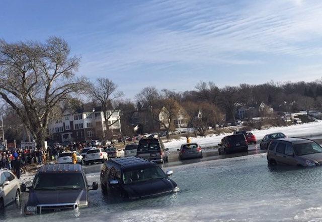 Cars fall through ice on Geneva Lake