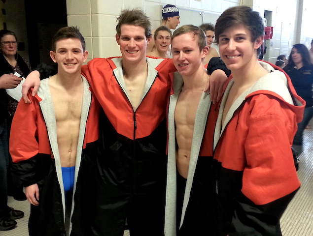 Fearsome foursome fuels Burlington swimmers at conference tournament