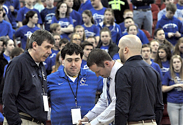 STATE BASKETBALL: Catholic Central boys in big trouble in second half