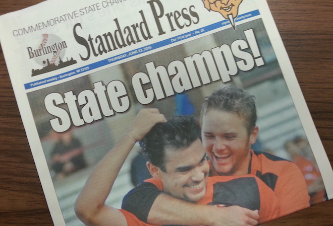 Commemorative Burlington baseball state champion section available