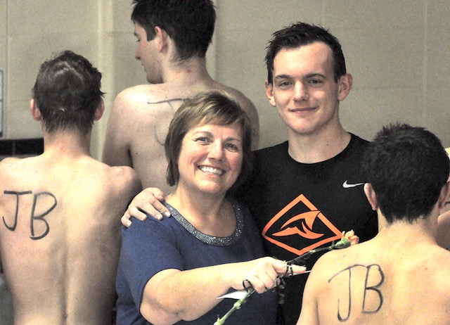 Burlington swimmers honor teammate's late father