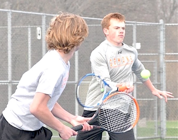 Top heavy: Ludwig leads Burlington tennis squad loaded at 1's