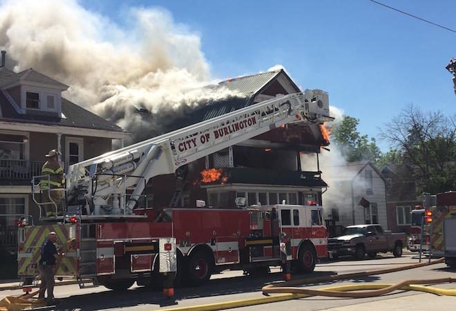 Fire displaces two families; no injuries reported