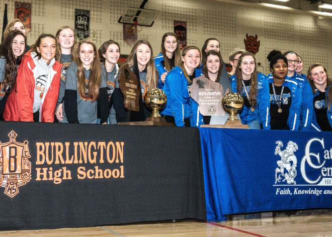 TITLETOWN: Burlington, Catholic Central volleyball unite to celebrate state championships