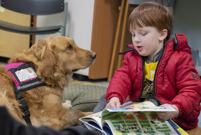 Reading to Casey