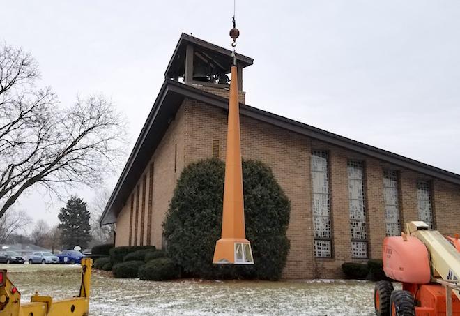 New steeple rises atop St. John's Lutheran Church