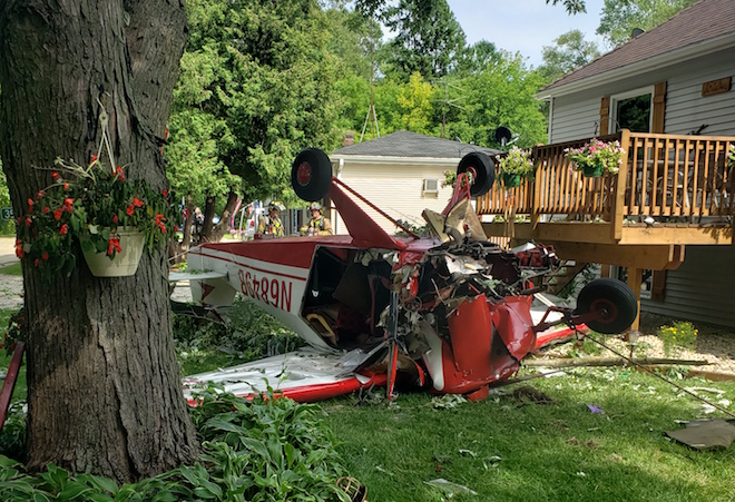 Two suffer life-threatening injuries as plane crashes near home
