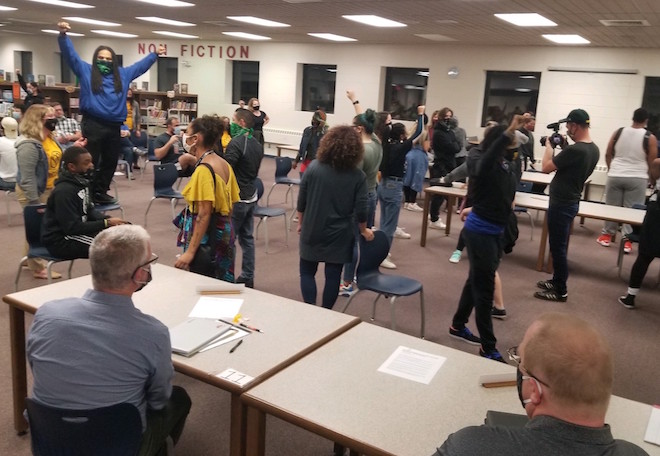 School Board meeting shut down as protest erupts
