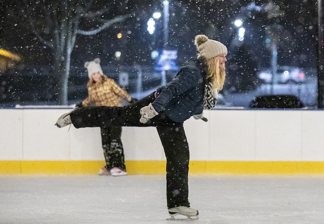Mother and daughter on ice